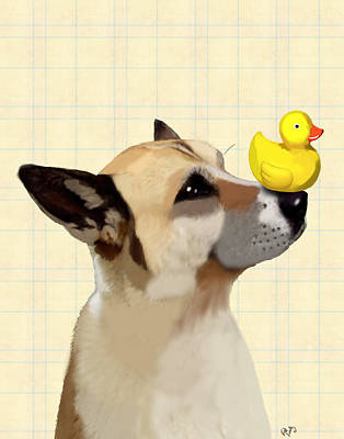 Dog And Duck Print by Kelly McLaughlan