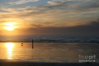 Dog And Man On The Beach Print by Ian Donley