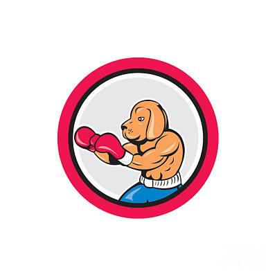Jab Digital Art - Dog Boxer Boxing Circle Cartoon by Aloysius Patrimonio