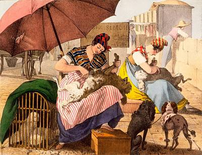 Dog Groomers, 1820 Print by French School