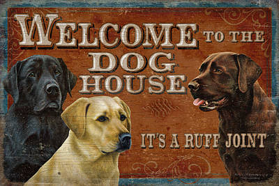 Retrievers Painting - Dog House by JQ Licensing