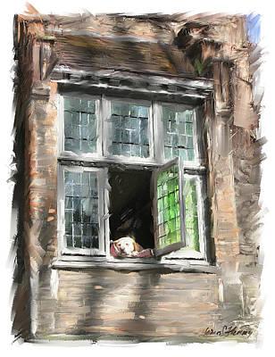 Dog In Window- Bruges Print by James Scott Fleming