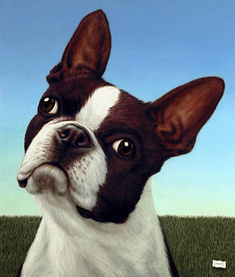 Boston Terrier Painting - Dog-nature 4 by James W Johnson