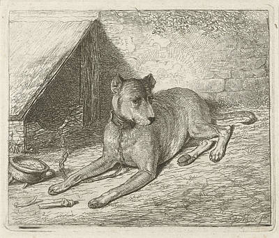 Dog On A Chain With A Doghouse, Johannes Mock Print by Artokoloro