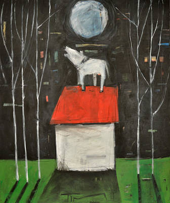 Dog On House Howls At Moon Print by Tim Nyberg