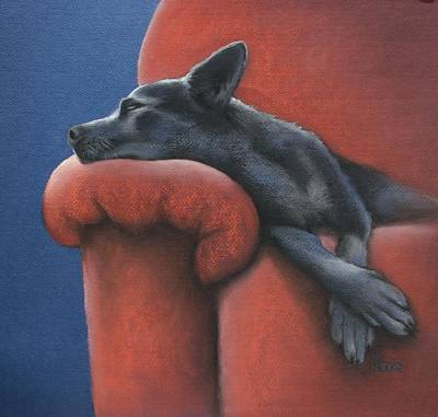 Dogs Drawing - Dog Tired by Cynthia House