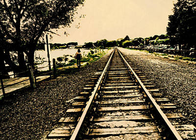 Dog Walking Digital Art - Dog Walk Along The Wayzata Train Tracks by Susan Stone