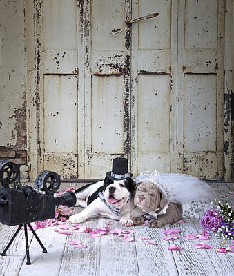 Wedding Bouquet Painting - Dog Wedding by Lisa Jane
