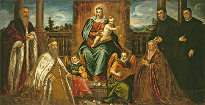 Jesus Art Painting - Doge Alvise Mocenigo And Family Before The Madonna And Child by Jacopo Robusti Tintoretto