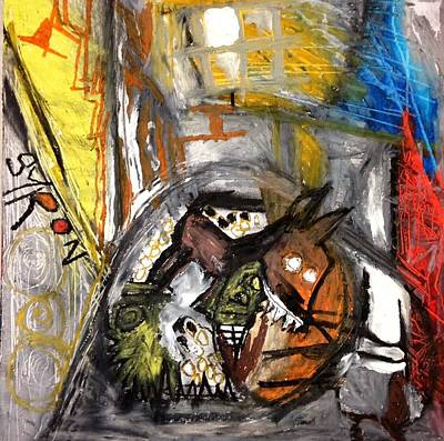 Basquiat Drawing - Dogs Dinner by Helen Syron