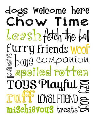 Pup Digital Art - Dogs Welcome by Jaime Friedman