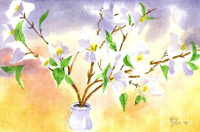 Impressionistic Landscape Painting - Dogwood In Watercolor by Kip DeVore