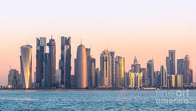Qatar Photograph - Doha Skyline At Sunrise - Qatar by Matteo Colombo