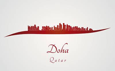 Doha Skyline In Red Print by Pablo Romero