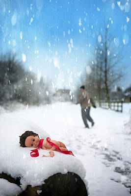 Doll Abandoned In Snow Print by Amanda And Christopher Elwell