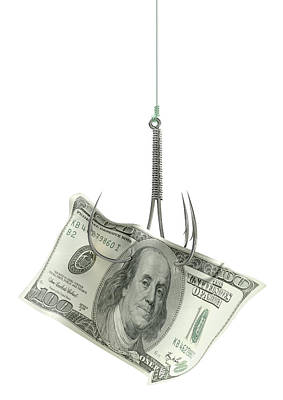 Dollar Banknote Baited Hook Print by Allan Swart