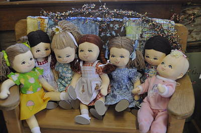 Dolls On A Bench Original by Patricia Holmes