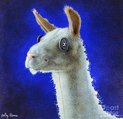 Doll Painting - Dolly Llama... by Will Bullas