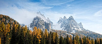 Dolomite Photograph - Dolomite Mountains In Fall, Toblach by Panoramic Images