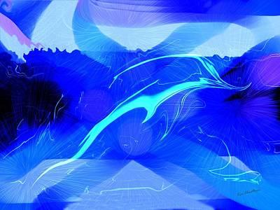 Dolphins Digital Art - Dolphin Abstract - 1 by Kae Cheatham