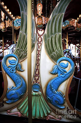 Antique Carousel Photograph - Dolphin Design by John Rizzuto