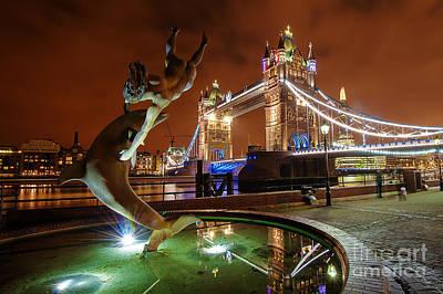 Dolphins Digital Art - Dolphin Fountain Tower Bridge London by Donald Davis