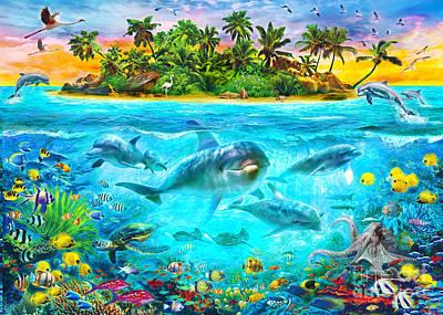 Fin Digital Art - Dolphin Paradise Island by Jan Patrik Krasny