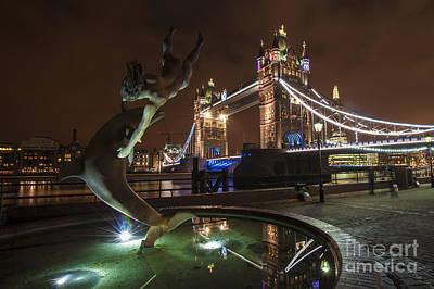 Dolphins Digital Art - Dolphin Statue Tower Bridge by Donald Davis