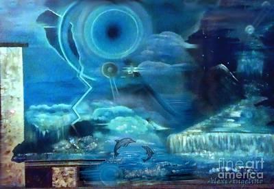 Atlantis Painting - Dolphins Of Atlantis Full by Alexi Angelino