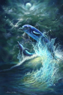 Dolphin's Play Original by Donna  Hillman Walsh