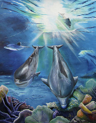 Painting - Dolphins Playing by Thomas J Herring