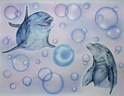 Dolphins Playing With Bubbles Original by Remrov