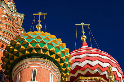 Domes Of Vasily The Blessed Cathedral - Feature 3 Print by Alexander Senin