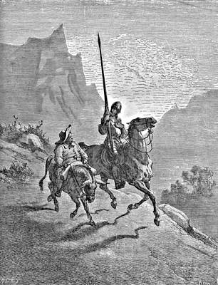 Pen And Ink Drawing Drawing - Don Quixote And Sancho Panza Illustration by Gustave Dore