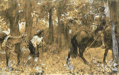 Don Quixote Painting - Don Quixote Y Sancho Panza by Pg Reproductions