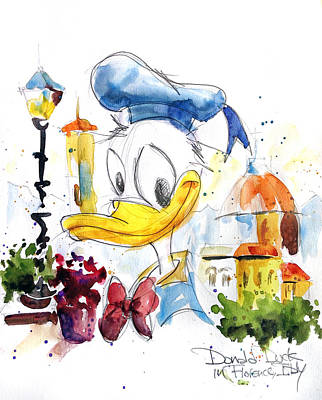 Duck Painting - Donald Duck In Florence Italy by Andrew Fling