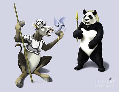 Donkey Mixed Media - Donkey Xote And Sancho Panda Colour by Rob Snow