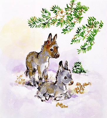Donkey Painting - Donkeys by Diane Matthes
