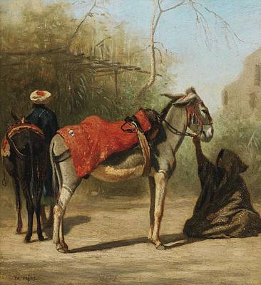 Jihad Painting - Donkeys In Cairo by Celestial Images