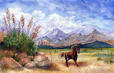 Bronze Horse Painting - Don't Fence Me In by Marilyn Smith