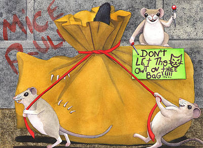 Wicked Kitty Painting - Dont Let The Cat Out Of The Bag by Catherine G McElroy