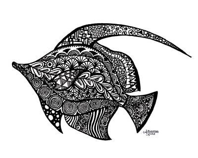 Newton Drawing - Doodle Fish by Alexandra Nicole Newton