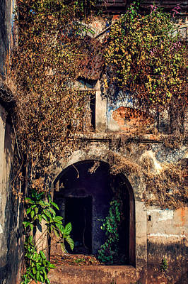 Abandoned Houses Photograph - Door At Old Portuguese House. Goa. India by Jenny Rainbow