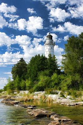 Lake Michigan Painting - Cana Island Lighthouse Cloudscape In Door County by Christopher Arndt