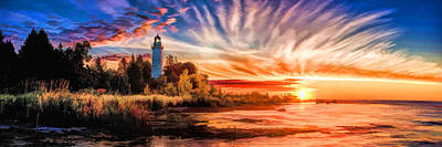 Lake Michigan Painting - Door County Cana Island Lighthouse Sunrise Panorama by Christopher Arndt