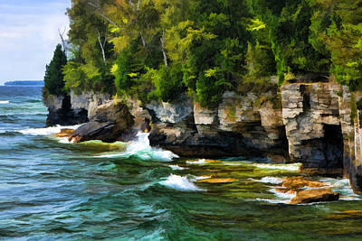 Door County Cave Point Cliffs Print by Christopher Arndt