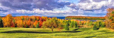 Fall Panorama Painting - Door County Grand View Scenic Overlook Panorama by Christopher Arndt