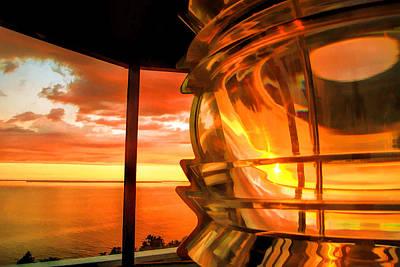 Door County Pottawatomie Lighthouse Sunrise Rock Island Print by Christopher Arndt