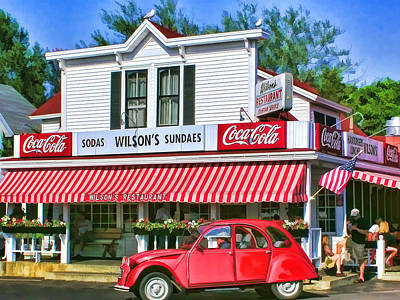 Fountain Painting - Door County Wilson's Restaurant And Ice Cream Parlor by Christopher Arndt