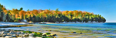 Fall Panorama Painting - Door County Wisconsin Bay Panorama by Christopher Arndt